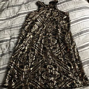 Alya dress size large black with gold sequin